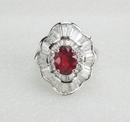 18 K White Gold Diamond Ring with red stone